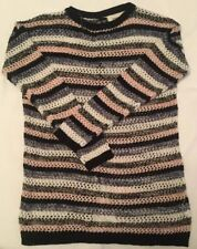 Ladies Womens Size Small Papaya Black And White Multi Colour Stripped Jumper