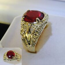 Men's Luxury 10k yellow gold filled red garnet crystal ring  sz S1/2  GIFT UK