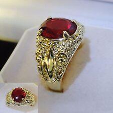 Men's  Women Luxury 10k yellow gold filled red garnet crystal ring  sz S GIFT UK