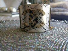 Authentic CHANEL Cuff Bracelet Bangle Ivory Gold Black CC Jackson Pollock NEW