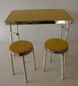 Toy Old: Table Camping And Two Stools Fully Metal Years 50
