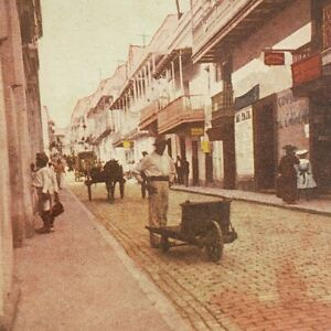 Puerto Rico Calle San Jose Street Scene 1910s Lithograph Stereoview A1
