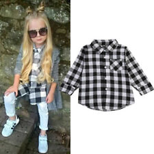 Fashion Baby Kids Girl Boy Tops Long Sleeve Checked Shirt T-shirt Blouse Sz 1-7Y