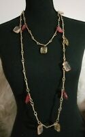 "Vintage Red And Blush Crackle Glass Crystal Beveled Beaded 64"" Long Necklace"