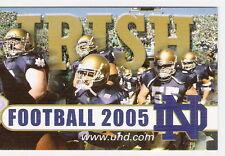 2005 NOTRE DAME FIGHTING IRISH FOOTBALL POCKET SCHEDULE - FREE SHIPPING!
