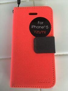 Tzumi iPhone 5 Faux Leather Flip Case - Bright Orange.