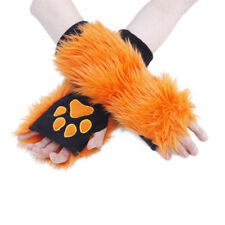 PAWSTAR Paw Arm Warmers - Furry Fingerless Gloves Costume adult Orange [OR]3101