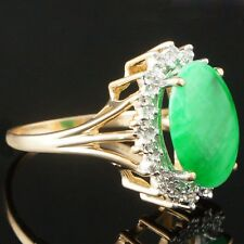 Solid 14K Yellow Gold Oval Cabochon Apple Jade & Diamond Estate Ring, AS IS!
