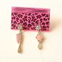 New Gold Tone Enamel Comb Mirror Drop Earrings Gift Fashion Women Party Jewelry