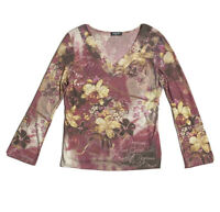 Energe World Wear Womens Size L Pink Floral Knit V Neck Blouse Long Sleeve