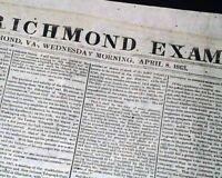 SOUTHERN TELEGRAPH Civil War Richmond Va CONFEDERATE 1863 Newspaper w/ EDITORIAL
