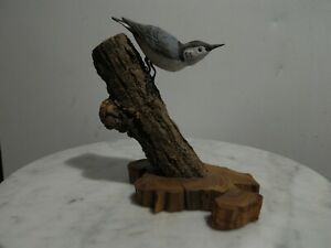 Hand Carved Blue Jay Bird on a Branch Dick Gilbert Bird in Hand '87