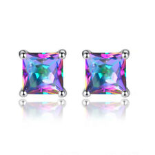 Elegent Cubic Zirconia Square Woman Wedding Shiny Ear Stud Earrings Jewelry