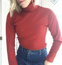 VTG Turtleneck 70s Womens long sleeve shirt Small Rusty Red Fall Ribbed Texture