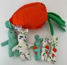 Pier 1 Imports Zippered Carrot Rabbit House with 5 Bunnies Plush Easter
