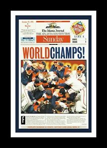 ATLANTA BRAVES 1995 WORLD SERIES CHAMPIONS MATTED PIC OF NEWSPAPER FRONT PAGE #2