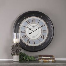 VINTAGE FRENCH HOTEL CAFE WALL CLOCK DARK BRONZE COPPER SHEETING AGED FACE