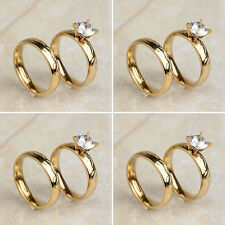 4 Pair/Lot 18K Gold Plated Stainless Steel Cut CZ Wedding Band Finger Rings Set