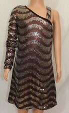 Sara Sara The Collection Bling Girls Dress Sz 12 One Shoulder Brown Sequins NWT
