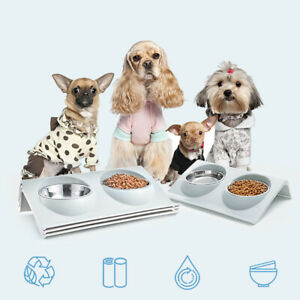 Stainless Steel Double Pet Bowl Twin AU Dog Food Feeder Station Dish Water Cat.