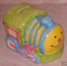 "Baby Train Engine Ceramic Piggy Bank 4""  X  3.25"" X 3"""