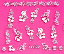 3D Nail Art Stickers Glitter Lace Sun Flower Cherry Leaf Silver Crystal XF622