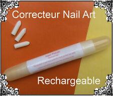 STYLO CORRECTEUR de Vernis Rechargeable Jaune Pro + 3 Embouts Manucure Nail Art