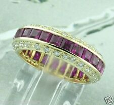 5.10 ct 14k  Yellow Gold Natural Diamond & Princess Cut Ruby Eternity Band Ring