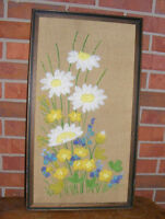 Vintage Daisy Floral Needlepoint Wall Hanging Framed