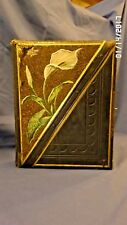 1636M 1800's Photo Album 9x11+ Holds 94 Photos Tooled Leather Calla Lily EMPTY
