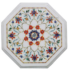 """12"""" Marble Coffee Table Top Marquetry Carnelian Inlay Christmas Decorative H2349"""