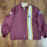 Vintage Ford Cobra Shelby Mustang Jacket Faux Fur Damon Good Will Hunting Maroon