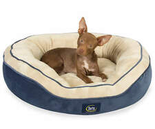 New Serta Memory Foam Navy and Cream Pet Cat Small Medium Dog Oval Nest Bed