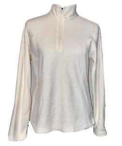 Lands' End Ladies 1/4 Zip Fleece Pullover Jacket Ivory Size Medium 10-12