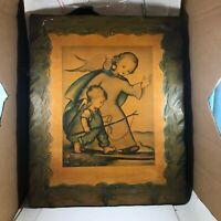 "Vintage HIS GUARDIAN ANGEL Child Art Print Sculptured Wood 21"" x 17"""