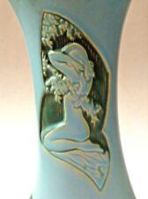 "Rare Roseville Vase Art Deco Metropolis Bather Silhouette 787-10"" Tourmaline"