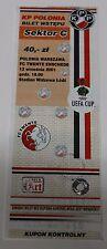Ticket for collectors EC Polonia Warszawa - Twente Enschede 2001 Poland Holland