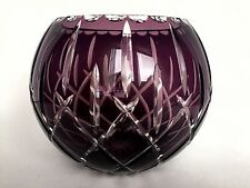 Bohemia Czech Crystal Large Round Purple Floral Vase 7 Inch High