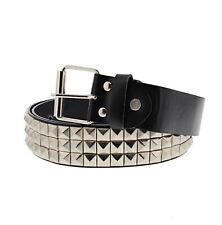 Zac's Alter Ego® 3 Row Silver Pyramid Studded Black PU Belt