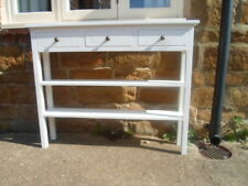 BESPOKE H80 W100 D20cm CONSOLE HALL TABLE 3 DRAWERS 2 SHELF WHITE SATIN