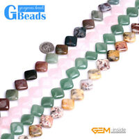 """16mm Assorted Stones Square Diagonal Beads For Jewelry Making Free Shipping 15"""""""