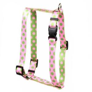NEW Green and Pink Polka Dot Roman Style H Dog Harness by Yellow Dog Design