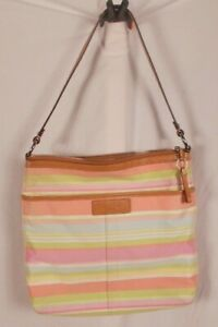 Coach Beach Swingback Stripe Shoulder Bag F13719 Pastels Pink Green Blue Yellow