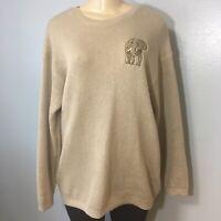 Cute Oversized Women Tan Sweater Size Large Elephant Print O-Neck