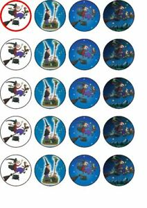24 Room on the broom rice paper edible cup cake toppers.