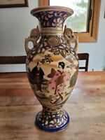 "141/2"" Satsuma Style Japanese Painted Porcelain Enamel Gold Gilt Mantle Vase"