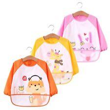 KOBWA Baby Bibs with Sleeves, 3Pcs Waterproof Kids Art Smocks Long Sleeved Bi...