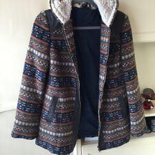 Topshop Brown Aztec Navajo Fairisle Fleece Lined Hooded Zip Coat Jacket 8 4 36