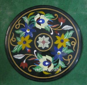 18 Inches Marble Coffee Table Top Inlay with Floral Art Patio End Table for Home