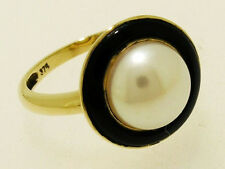 C766 Elegant Genuine 9ct Solid Gold NATURAL Mabe Pearl  & ONYX Ring in your size